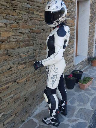 Dainese Yu Lady Traje Mono moto una pieza blanco