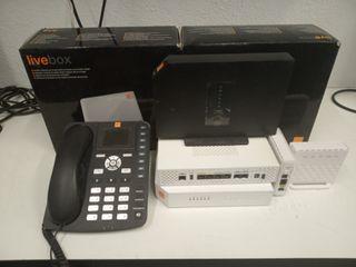conjunto router + telefono