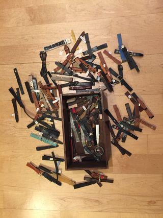 Lote correas de piel reloj vintage