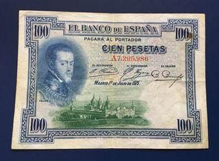 Billete 100 Pesetas 1925 SELLÓ EN SECO.