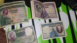 billetes de pesetas de 1928 y 1931