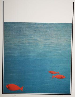 Láminas abstractas de peces del artista Sasiain