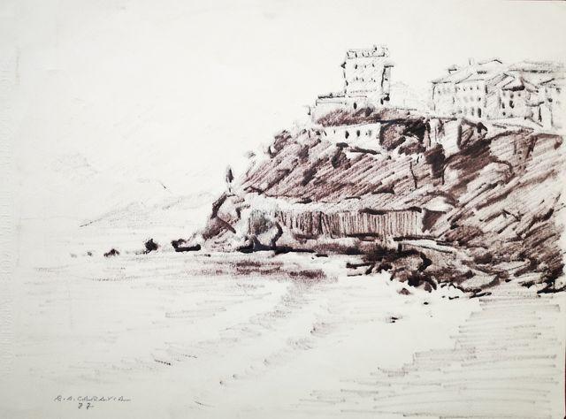 Dibujo playa y pueblo de Lastres por R. A. Caravia