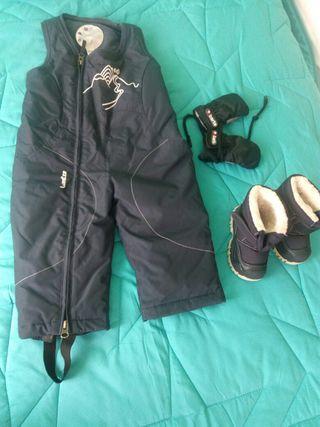 Pantalon + guantes + botas nieve