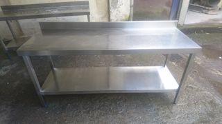 2 mesas de trabajo acero inoxidable 1800x600x85