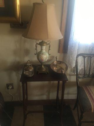 Lámpara mesa antigua porcelana de Limoges