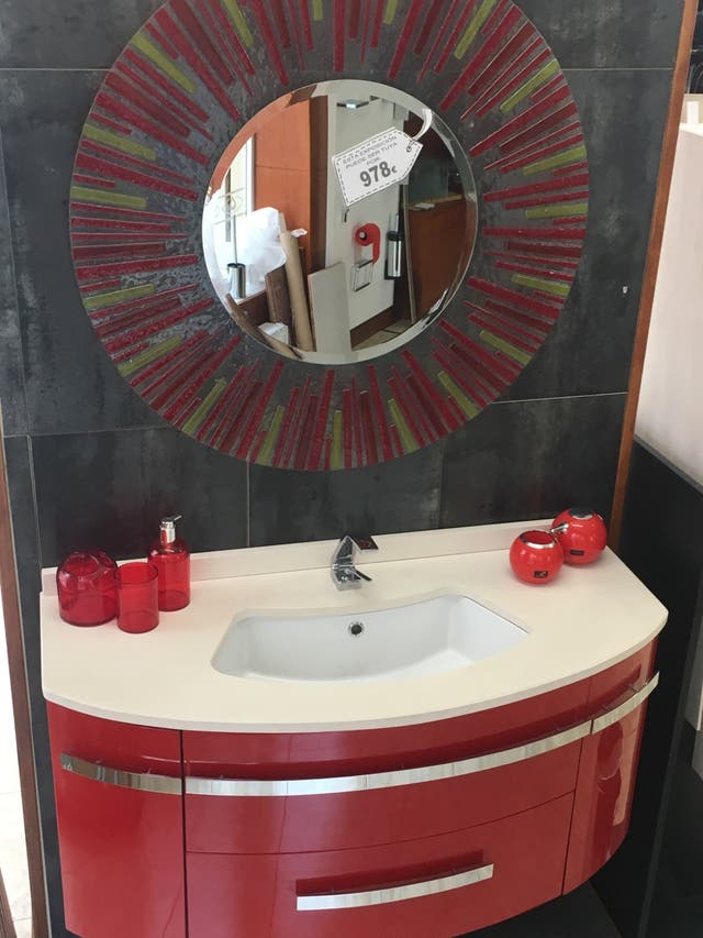 Mueble de baño 110 rojo Ferrari brillo