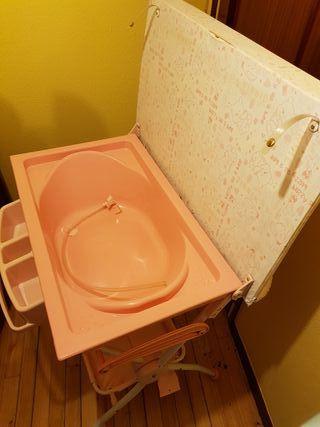 Bañera con cambiador para bebe