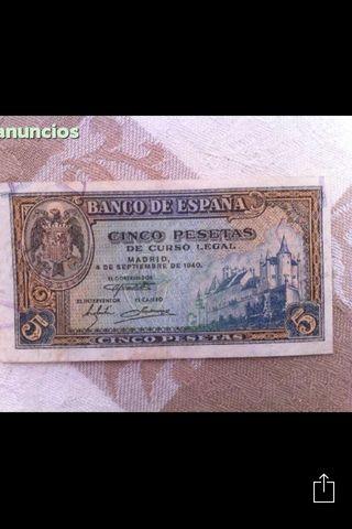 Billete 5 pesetas 1940 ebc