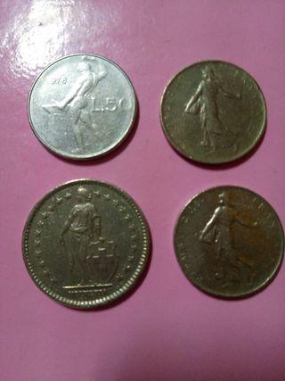 lote de 3 monedas francesa y 1 italiana antiguas
