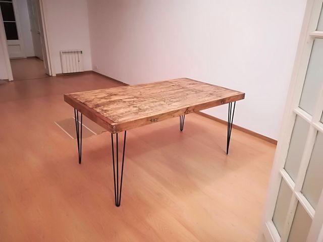 Mesa comedor industrial,rústica en madera maciza de segunda mano por ...
