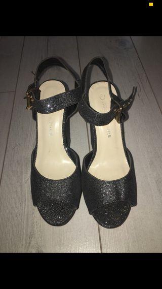 Chunky glitter black heels