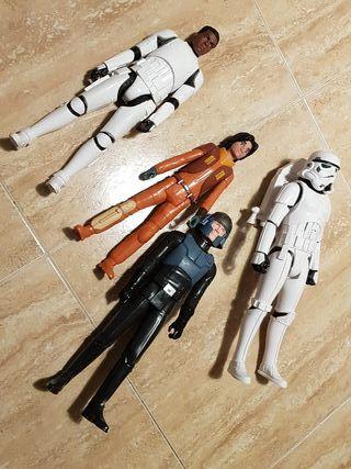 4 figuras grandes de star wars