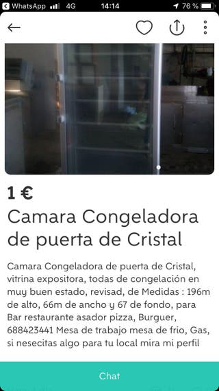 Congelador puerta cristal