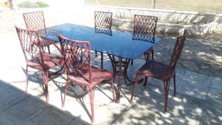 Preciosa mesa de forja antigua con 6 sillas