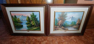 pareja cuadros pintados a mano paisajes lagos casa