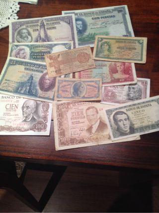 Lote 12 billetes antiguos