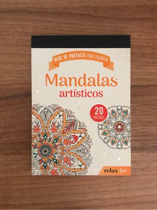 Libro con postales de mandalas para pintar