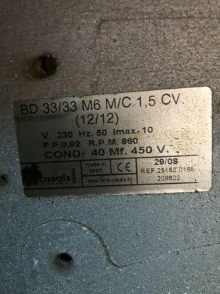 Motor campana extractora industrial 1,5 cv