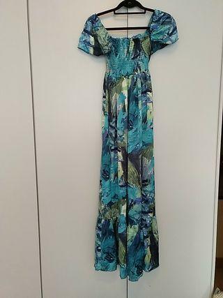 vestido satén estampado azules y verdes