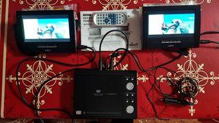 Reproductor DVD portátil con pantalla dual