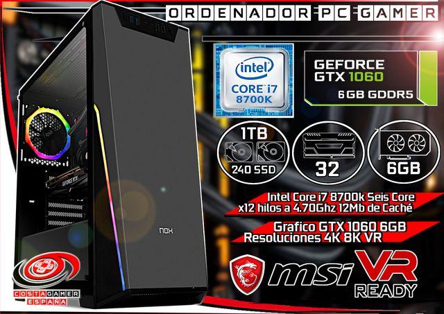 Gamer i7 8700k 32GB Ram GTX 1060 6GB SSD 240GB 2TB de segunda mano