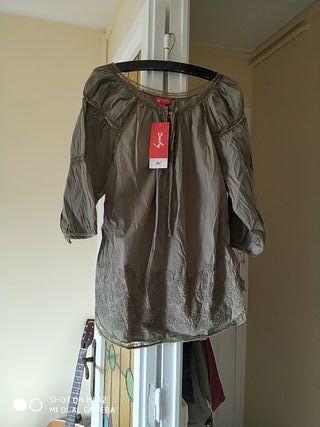 Blusa algodon bordado romántica caqui René Derhy