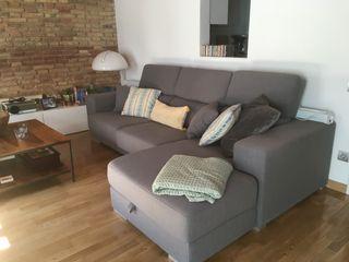 Sofá c/ chaiselongue c/ arcón en gris KENAY
