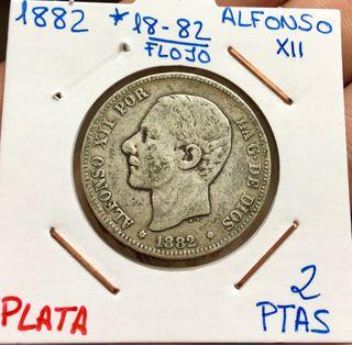 Moneda PLATA 2 Pesetas 1882 *(18-82) ALFONSO XII