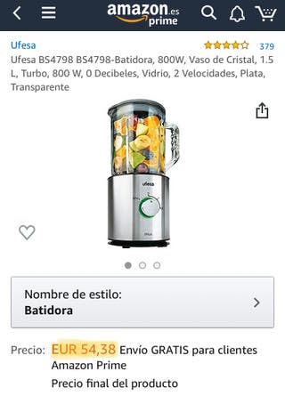 Batidora Vaso Ufesa 800w 1.5L