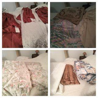 lote edredones, cortinas, alfombras