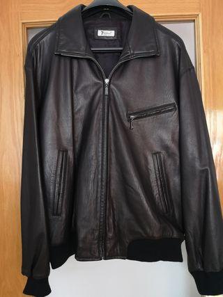 Chaqueta negra de cuero HOMBRE (t. XL)