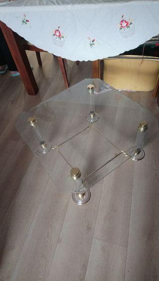 mesa de centro cristal y metacrilato 70X70X35