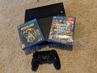 PS4 500 gb + mando + 2 juegos