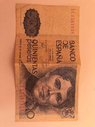 Billete auténtico de 500 pesetas
