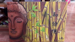 Pintura original de Buda Indio con bambus