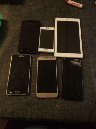 5 moviles y una tablet piezas o reparar