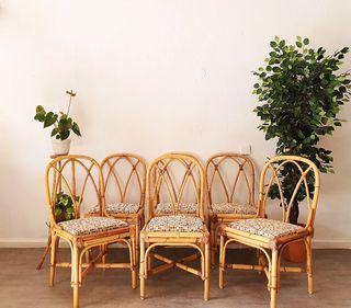 Conjunto sillas bambú años 70