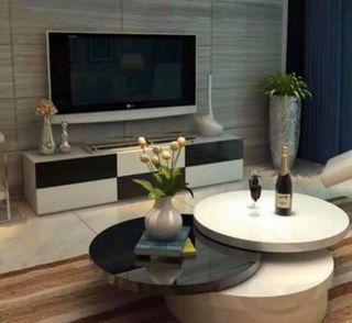 High Gloss Black & White Rotating Table