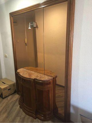 Espejo + mueble de madera maciza