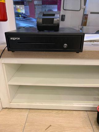 Caja registradora e impresora de tíquets