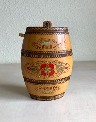 Antigüedad Botijo ,Cantimplora madera tallada