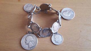 Pulsera con monedas en plata USA