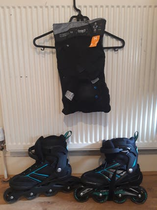 size 42 roller skates and 3 new protection size m