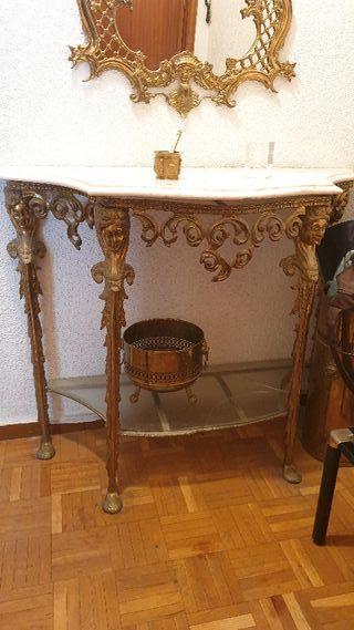 conjunto de espejo y recibidor de bronce y marmol