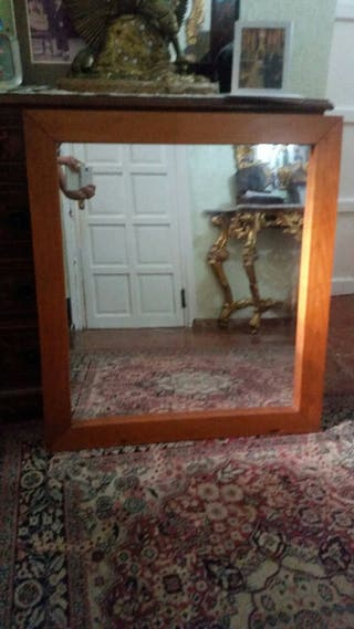 espejo cuadrado salon o entradita madera