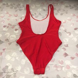 Red swim suit