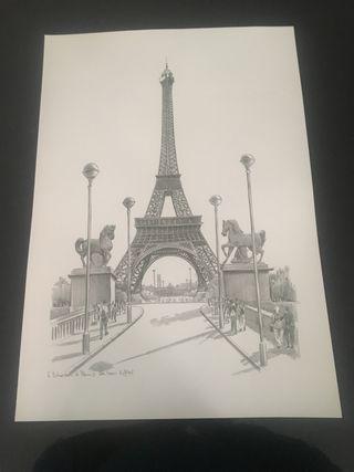 Láminas Parisinas Torre Eiffel y Notre Dame