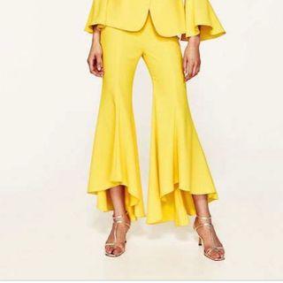 Pantalón amarillo palazzo volante ZARA