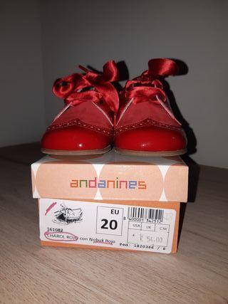 Zapatos andanines rojos número 20